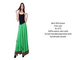 Green Cotton Skirts