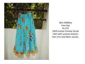 Blue Cotton Skirts